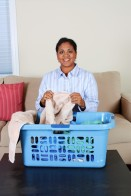 lady woman mom laundry basket hamper chore
