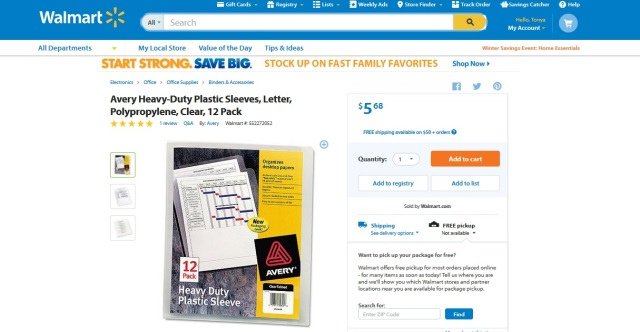 walmart clear sleeves